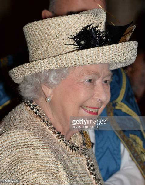 Britain's Queen Elizabeth II attends the Commonwealth Observance at Westminster Abbey in central London on March 9 2015 the Observance is the biggest...