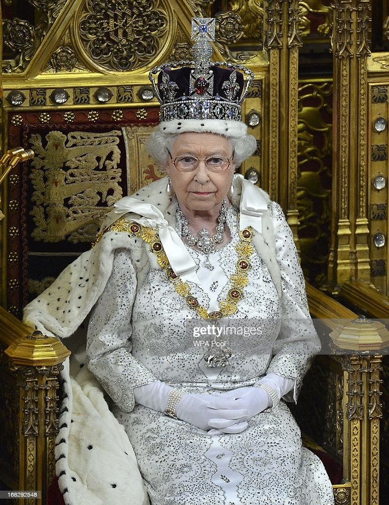 Britain's Queen Elizabeth II attends the State Opening of Parliament on May 8 2013 in London England Queen Elizabeth II unveiled the coalition...