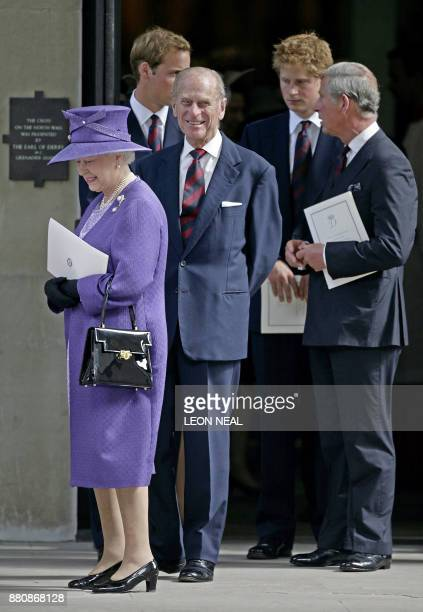 Britain's Queen Elizabeth II Prince Philip Prince Charles Prince Harry and Prince William leave the Service of Thanksgiving for the life of Diana...