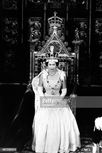 Britain's Queen Elizabeth II delivers a speech on April 22 1966 during the state opening of Parliament at the House of Lords in London AFP PHOTO