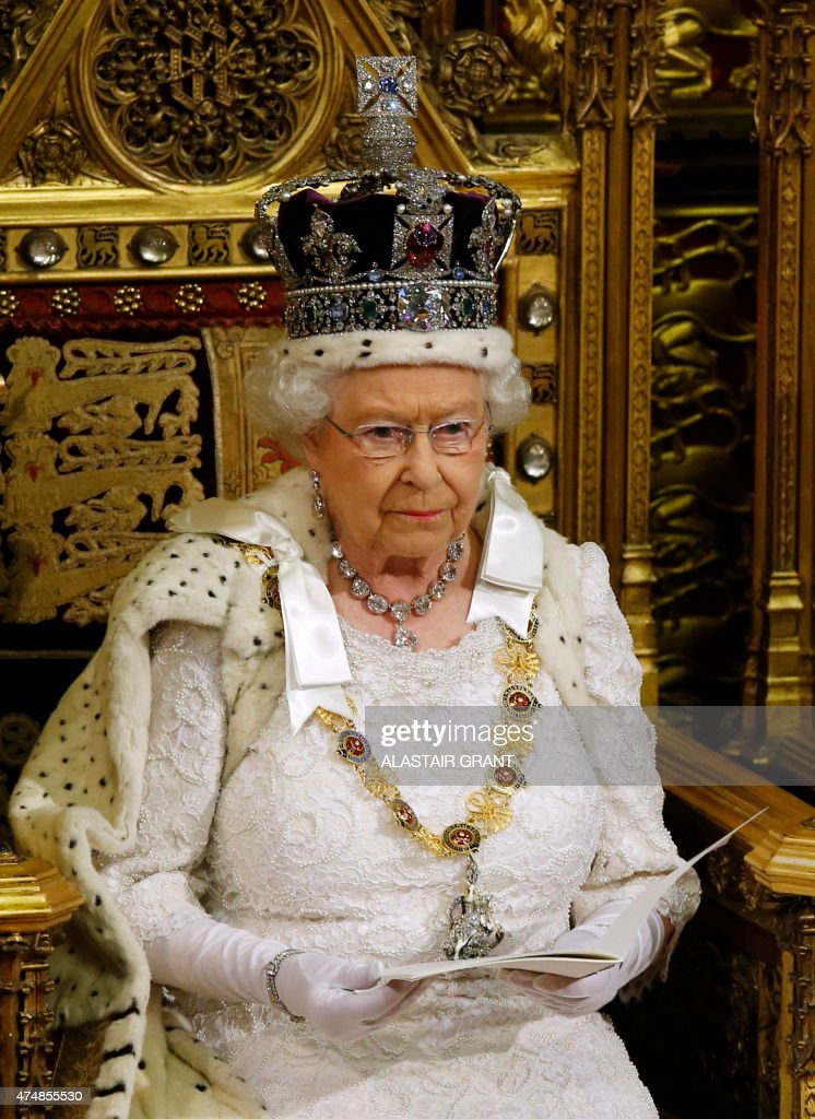 Britain's Queen Elizabeth II delivers the Queen's Speech from the throne in the House of Lords during the State Opening of Parliament at the Palace...