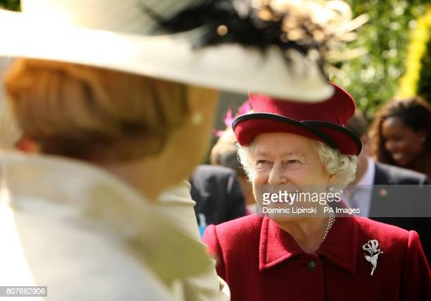 Britain's Queen Elizabeth II during a tour of the gardens at Capel Manor College in Enfield Middlesex where she opened the Queen Elizabeth Queen...