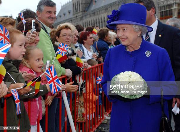Britain's Queen Elizabeth II during a walkabout in Ypres town square Belgium before visiting the Tyne Cot War Cemetary Passchendaele for a ceremony...