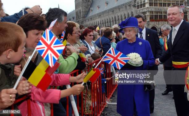 Britain's Queen Elizabeth II during a walkabout in Ypres town square Belgium before visiting the Tyne Cot War Cemetary Passchedaele for a ceremony...