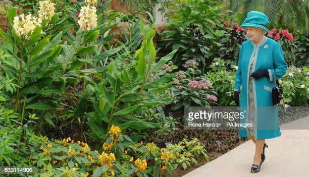 Britain's Queen Elizabeth II during her visit the Royal Horticultural Society Garden at Wisley Surrey where she officially opened The Glasshouse in...