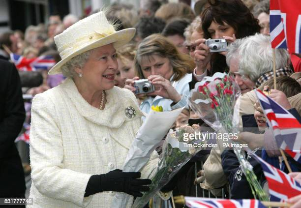 Britain's Queen Elizabeth II during her walkabout in Guildford High Street after distributing Maundy Money at Guildford Cathedral