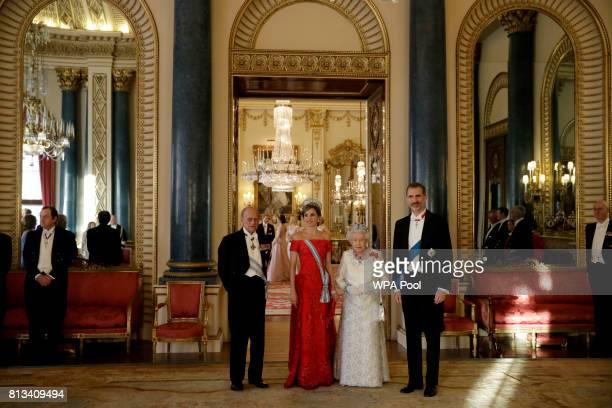 Britain's Queen Elizabeth II her husband Prince Philip Duke of Edinburgh King Felipe VI of Spain and Queen Letizia of Spain pose for a group...