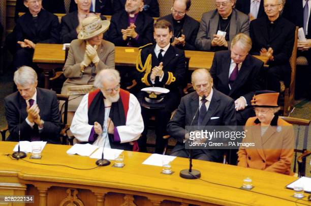 Britain's Queen Elizabeth II is applauded after having delivered a speech at the Inauguration of the Eighth General Synod of the Church of England...