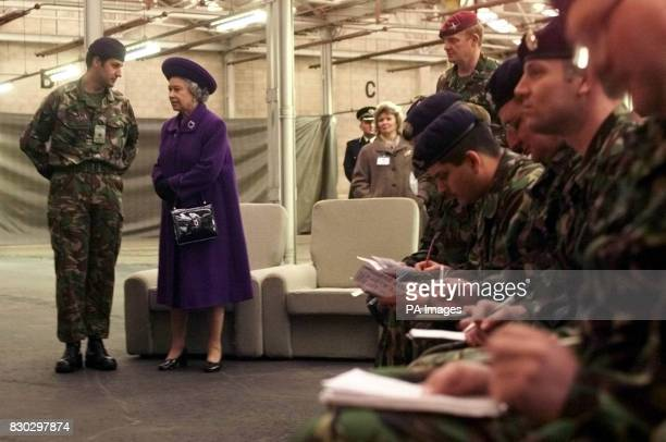 Britain's Queen Elizabeth II is present as reservists are trained at Chetwynd Barracks Chilwell Nottingham The Queen visited the Reservists Training...
