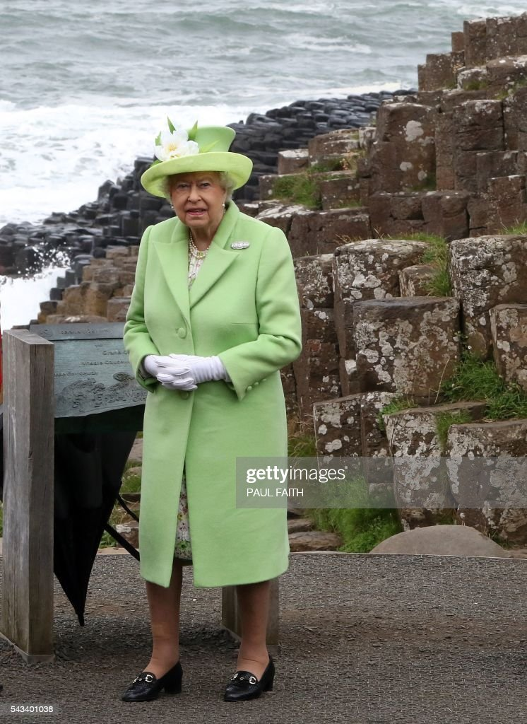 Britain's Queen Elizabeth II is shown Giant's causeway, a world heritage site near Bushmills in Northern Ireland during a two-day visit on June 28, 2016. FAITH