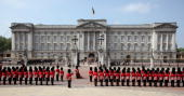 Britain's Queen Elizabeth II leaves Buckingham Palace in central London to address Parliament at the official State Opening of Parliament ceremony at...