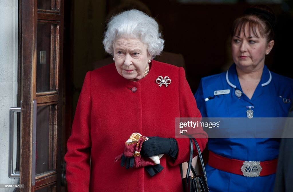 Britain's Queen Elizabeth II leaves King Edward VII Hospital in London on March 4, 2013 after being admitted suffering from gastroenteritis. Britain's Queen Elizabeth II left hospital after a one-night stay, having been admitted for the first time in 10 years after suffering from the symptoms of gastroenteritis. The illness forced her to call off a visit to Rome this week, which would have been her first overseas trip since October 2011.