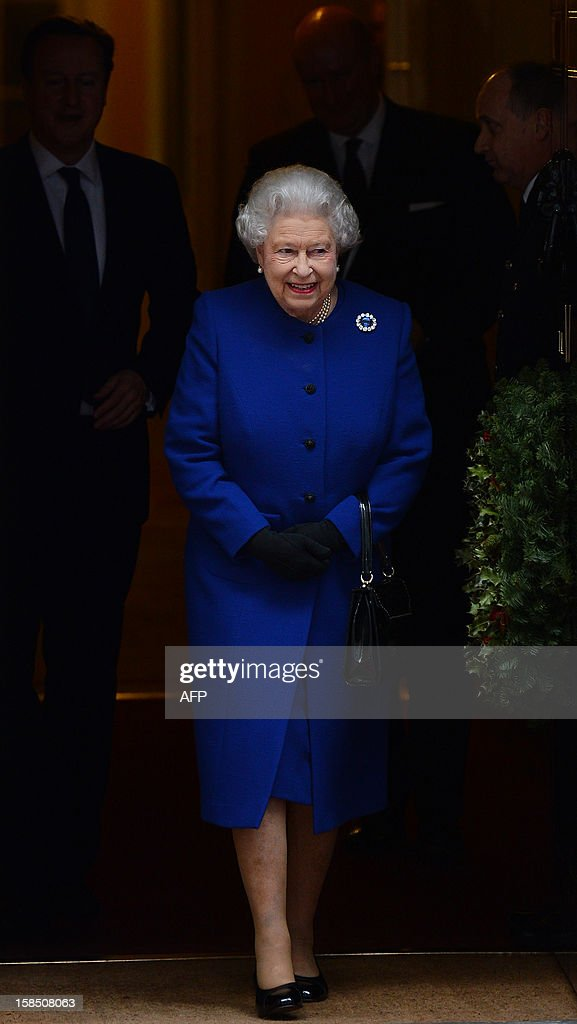 Britain's Queen Elizabeth II leaves no 10 Downing Street in London December 18, 2012 after sitting in as an observer during a meeting of the Cabinet. Queen Elizabeth II attended her first-ever cabinet meeting on Tuesday to mark her diamond jubilee, the only monarch to do so since 1781.The 86-year-old sovereign sat in as an observer on the meeting and received a gift from the Cabinet to celebrate her 60 years on the throne.