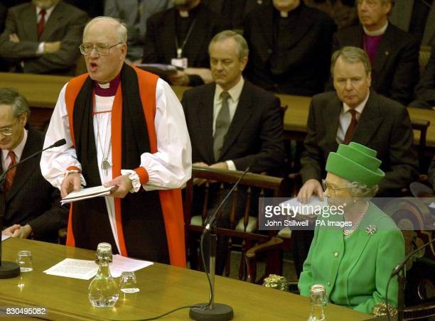 Britain's Queen Elizabeth II listens as the Archbishop of Canterbury gives his speech to the General Synod of the Church of England at Church House...