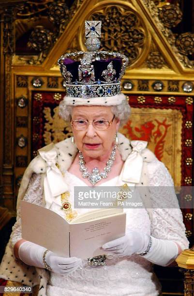 Britain's Queen Elizabeth II makes a speech in the House of Lords during the State Opening of Parliament in which she outlined the government's...