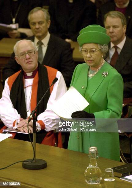 Britain's Queen Elizabeth II makes her speech to the General Synod of the Church of England at Church House Westminster London The Queen with the...