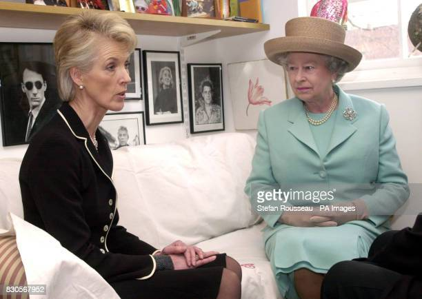 Britain's Queen Elizabeth II meets 'aga saga' novelist Joanna Trollope at Bloomsbury Publishing in London During the socalled royal 'theme day' the...