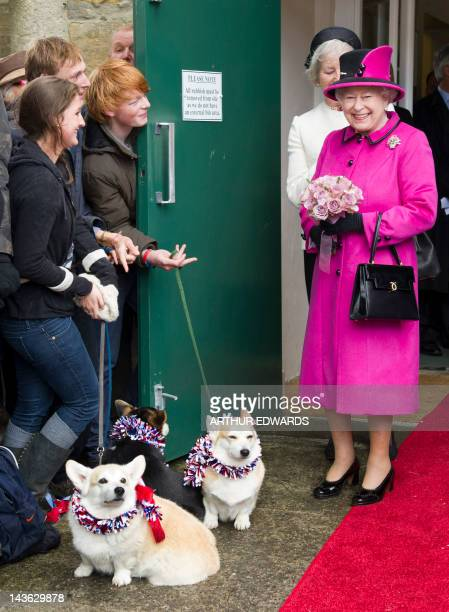 Britain's Queen Elizabeth II meets members of the public with two corgi dogs during a visit at Sherborne in Dorest southwest England on May 1 2012...