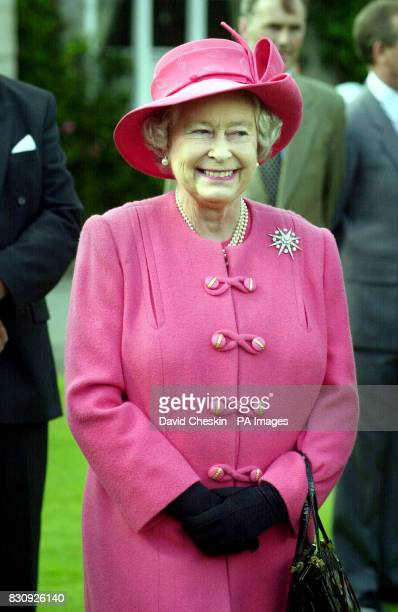 Britain's Queen Elizabeth II on the lawn at Balmoral castle Scotland The Queen watched the Highland Band of the Scottish Division Beating a Retreat...
