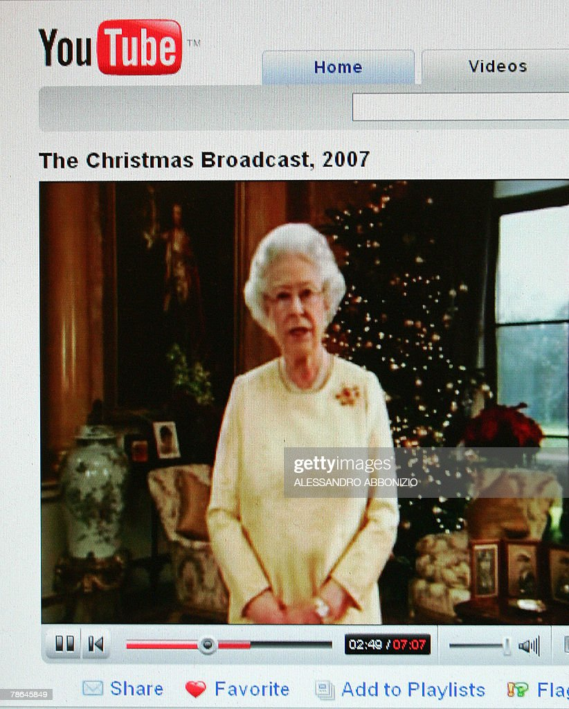 Britain's Queen Elizabeth II posts her traditional Christmas message on 'YouTube' for the first time through a special royal channel on the...