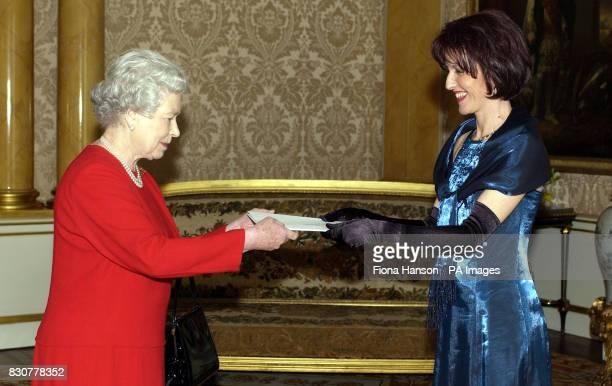 Britain's Queen Elizabeth II receives Her Excellency the Ambassador of Bosnia Herzegovina Mrs Elvira Begovic who presented her Letter of Credence at...