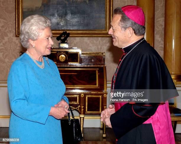 Britain's Queen Elizabeth II receives the Apostolic Nuncio Archbishop Faustino Sainz Munoz who presented his Letter of Credence