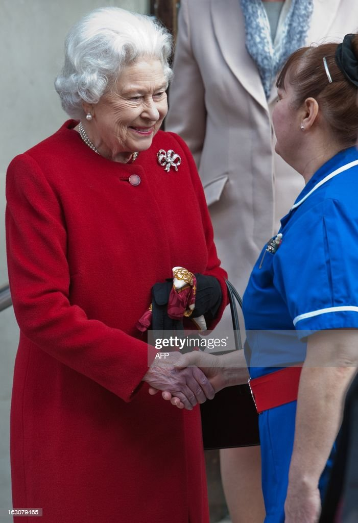 Britain's Queen Elizabeth II shakes hands with a member of nursing staff as she leaves King Edward VII Hospital in London on March 4, 2013 after being admitted suffering from gastroenteritis. Britain's Queen Elizabeth II left hospital after a one-night stay, having been admitted for the first time in 10 years after suffering from the symptoms of gastroenteritis. The illness forced her to call off a visit to Rome this week, which would have been her first overseas trip since October 2011.