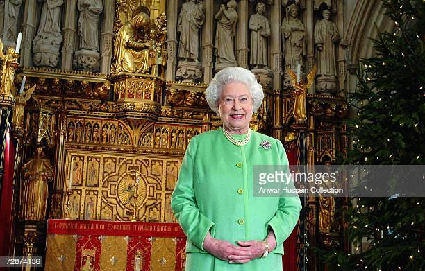 Britain's Queen Elizabeth II smiles after filming this year's Christmas broadcast issued on December 24 2006 at Southwark Cathedral south London...