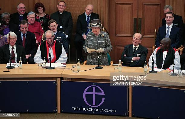 Britain's Queen Elizabeth II speaks at the inauguration ceremony of the tenth General Synod of the Church of England at Church House in central...