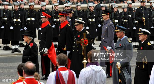 Britain's Queen Elizabeth II the Earl of Wessex Prince William the Duke of Edinburgh the Prince of Wales and the Duke of York during a Remembrance...