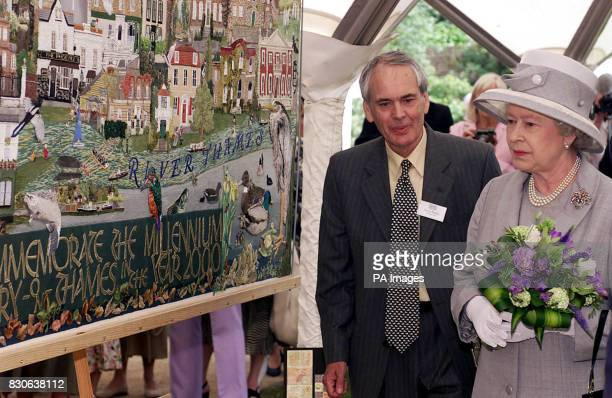 Britain's Queen Elizabeth II visiting the Sunbury Millennium Embroidery in the walled garden Sunbury on Thames Middlesex with David Brown Chairman...