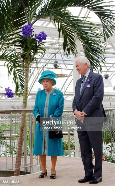 Britain's Queen Elizabeth II visits the Royal Horticultural Society Garden at Wisley Surrey accompanied by the society's President Peter Buckley