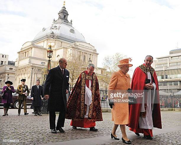 Britain's Queen Elizabeth II walks with the Dean of Westminster Dr John Hall Prince Philip and Canon Nicholas Sagovsky as they arrive to attend a...