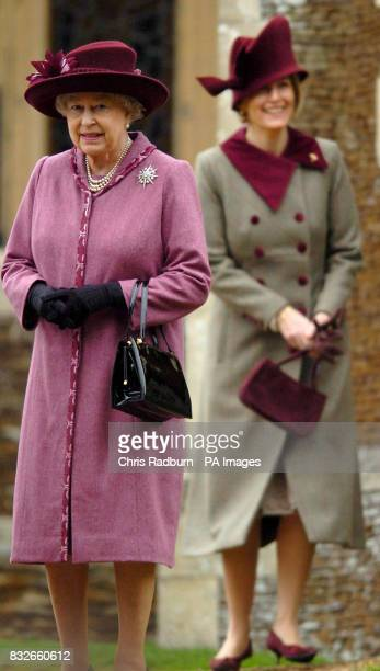 Britain's Queen Elizabeth II with Sophie Countess of Wessex leave the Christmas Day Service at St Mary Magdalene's Church on the Sandringham Estate...