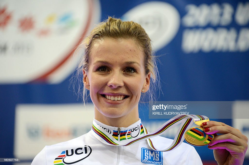 Britain's Rebecca James celebrates her gold medal of the UCI Track Cycling World Championships Women's Keirin in Belarus' capital of Minsk on February 24, 2013.