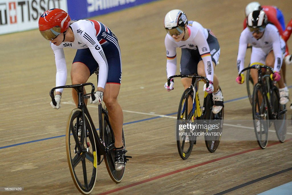 Britain's Rebecca James (L) competes on February 24, 2013 to win the gold medal in the women's keirin on the closing day of the World Track Cycling Championships in Minsk .