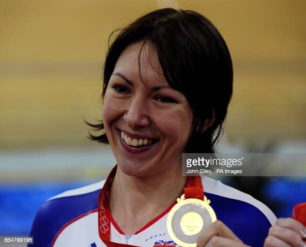 Britain's Rebecca Romero poses with her gold medal for the women's individual persuit and at the Laoshan Velodrome in Beijing China during the 2008...
