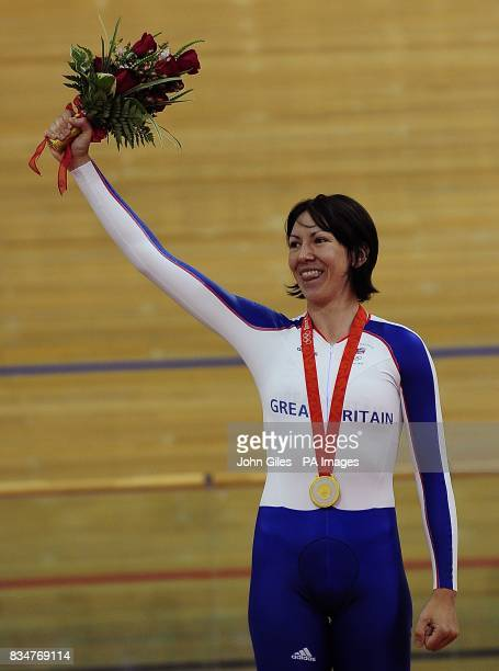 Britain's Rebecca Romero recieves her gold medal for the women's individal persuit and at the Laoshan Velodrome in Beijing China during the 2008...