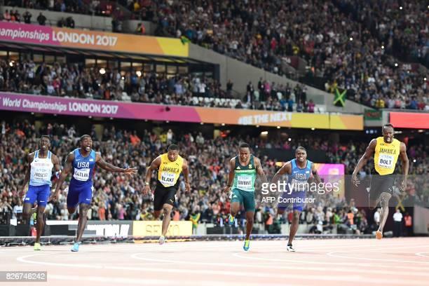 TOPSHOT Britain's Reece Prescod US athlete Justin Gatlin Jamaica's Yohan Blake South Africa's Akani Simbine US athlete Christian Coleman Jamaica's...