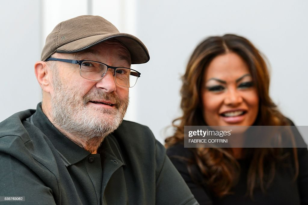 Britain's rock star Phil Collins (L) and his ex-wife Orianne Collins look on during a press conference for The Little Dreams Foundation gala concert on May 30, 2016 in Lausanne. The Little Dreams Foundation was established by Orianne and Phil Collins in February 2000 to help young talents, regardless of disabilities, to fulfil their dreams in artistic or sportive areas. / AFP / FABRICE