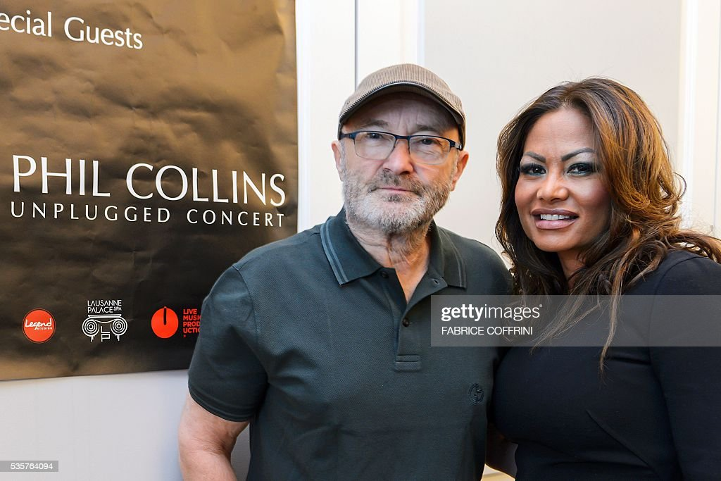 Britain's rock star Phil Collins (L) and his ex-wife Orianne Collins pose during a press conference for The Little Dreams Foundation gala concert on May 30, 2016 in Lausanne. The Little Dreams Foundation was established by Orianne and Phil Collins in February 2000 to help young talents, regardless of disabilities, to fulfil their dreams in artistic or sportive areas. / AFP / FABRICE