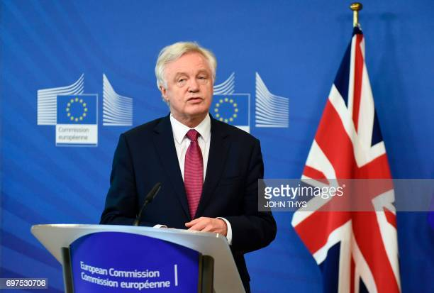 Britain's Secretary of State for Exiting the European Union David Davis addresses a joint press conference with the European Union's French chief...