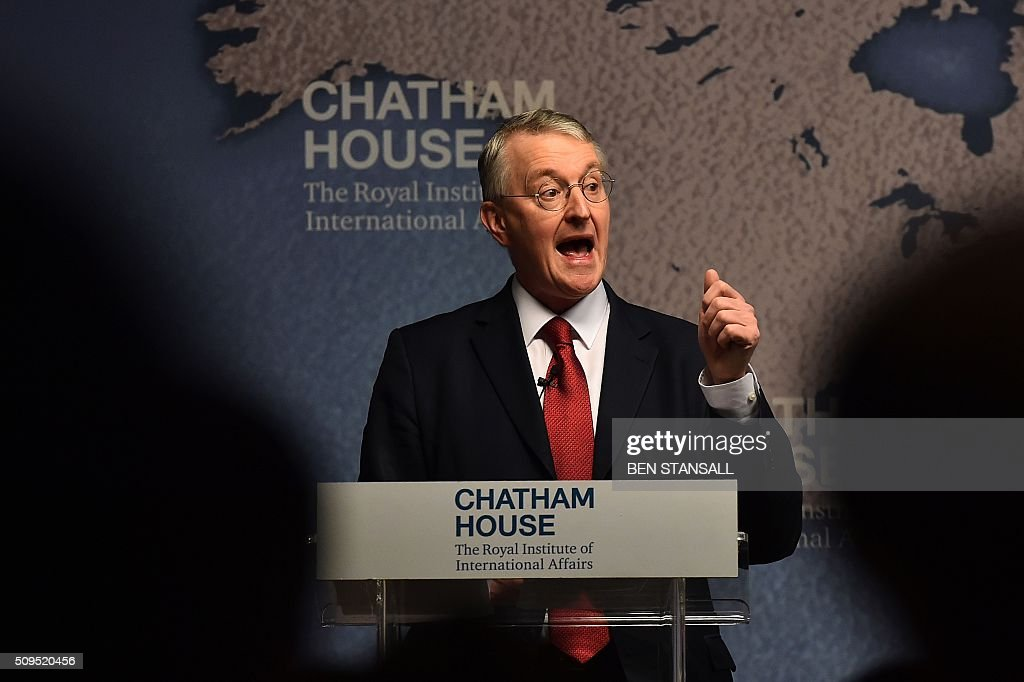Britain's Shadow Foreign Secretary, Hilary Benn, delivers a speech on 'The Internationalist Case for Europe' at Chatham House in central London, on February 11, 2016. / AFP / BEN STANSALL