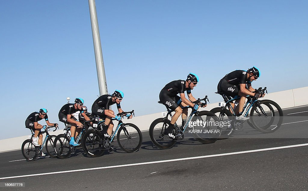 Britain's Sky team's cyclists ride their bikes during the second stage of the 2013 cycling Tour of Qatar, a 14-kilometre team time-trial, in the Qatari capital Doha, on February 4, 2013. US team BMC won the event in 16min 7.21sec, five seconds ahead of Sky and 10 seconds in front of Omega Pharma, led by former world champion Mark Cavendish.