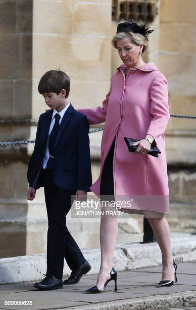 Britain's Sophie Countess of Wessex and James Viscount Severn arrive to attend the Easter Sunday service at St George's Chapel Windsor Castle west of...