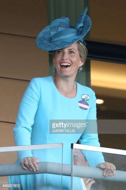 Britain's Sophie Countess of Wessex cheers from the Royal Box on the second day of the Royal Ascot horse racing meet in Ascot west of London on June...