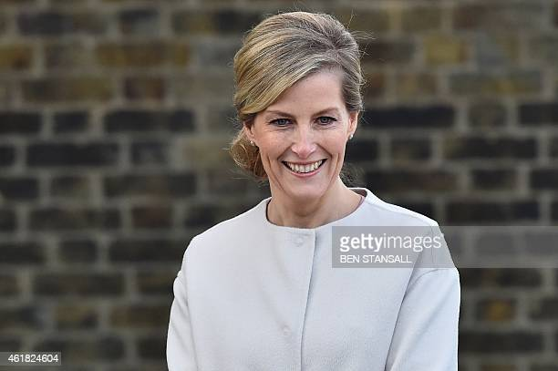 Britain's Sophie Countess of Wessex is seen during a visit to Tomorrow's People Social Enterprises St Anselm's Church in London on January 20 the...