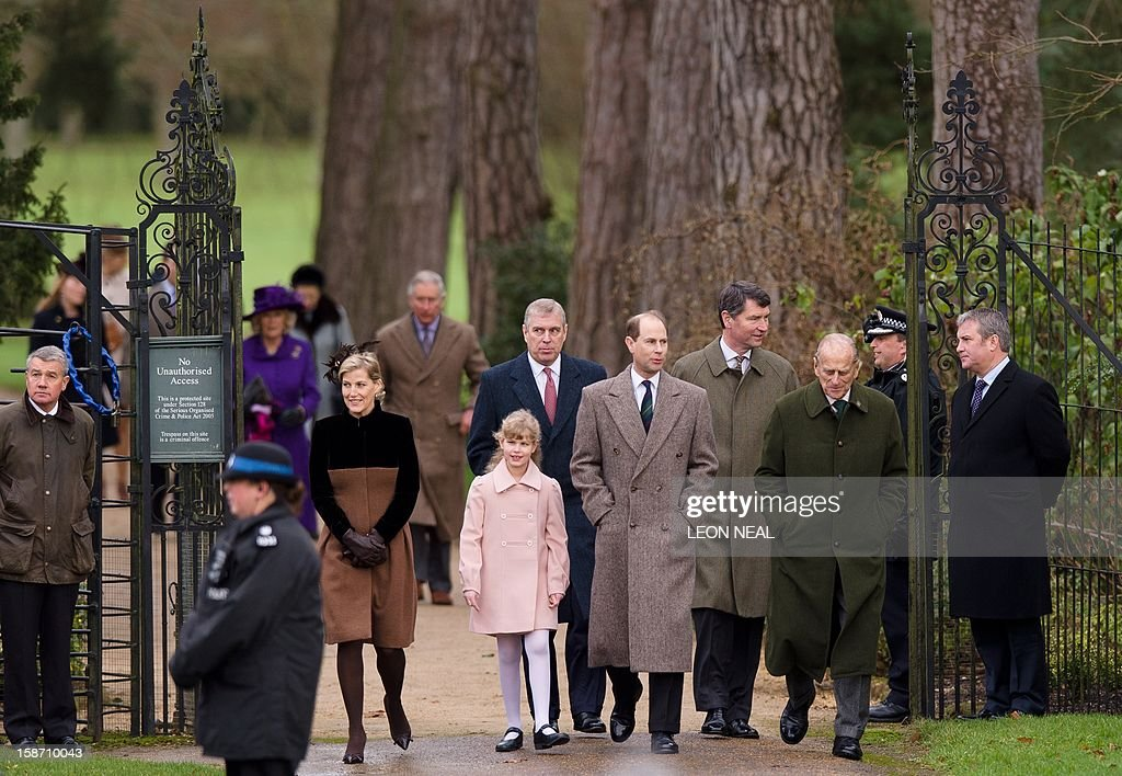 Britain's Sophie, Countess of Wessex, Lady Louise Windsor, Prince Andrew, Duke of York, Prince Edward, Earl of Wessex, Vice Admiral Timothy Laurence and Prince Philip, Duke of Edinburgh arrive for the Royal family Christmas Day church service at St Mary Magdalene church in Sandringham, Norfolk, in the east of England, on December 25, 2012.