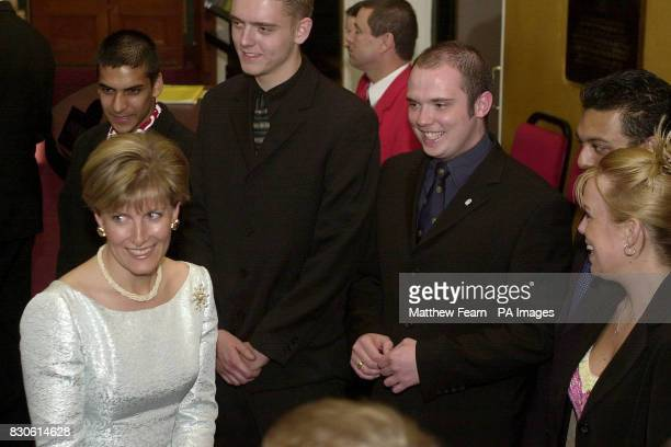 Britain's Sophie Countess of Wessex meets the Duke of Edinburgh Award winners at the Royal Albert Hall in London during a celebrationary concert to...