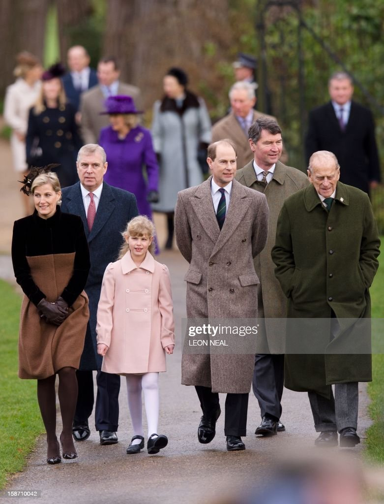 Britain's Sophie, Countess of Wessex, Prince Andrew, Duke of York, Lady Louise Windsor, Prince Edward, Earl of Wessex, Vice Admiral Timothy Laurence and Prince Philip, Duke of Edinburgh arrive for the Royal family Christmas Day church service at St Mary Magdalene church in Sandringham, Norfolk, in the east of England, on December 25, 2012. AFP PHOTO/LEON NEAL